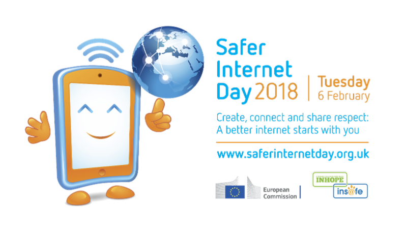 Safer Internet Day logo of a tablet computer spinning the world on its finger